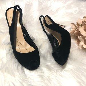 ♠️ Kate Spade black velvet peep toe heels